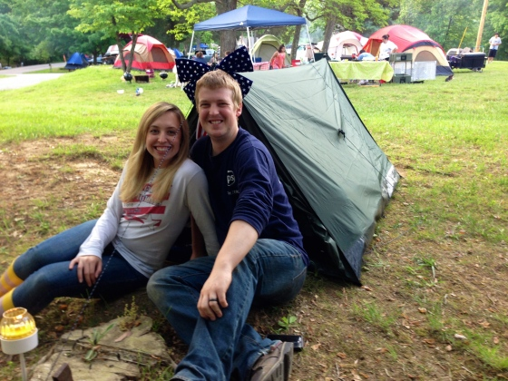 With our first family tent! It was just big enough for the two of us :)