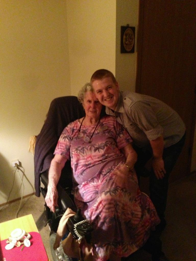 Matt and Grandma Phillis hanging out