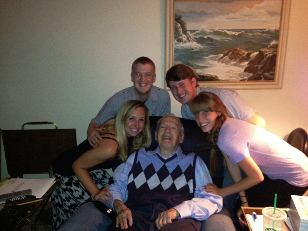 All four of us Pomeroy kids with grandpa