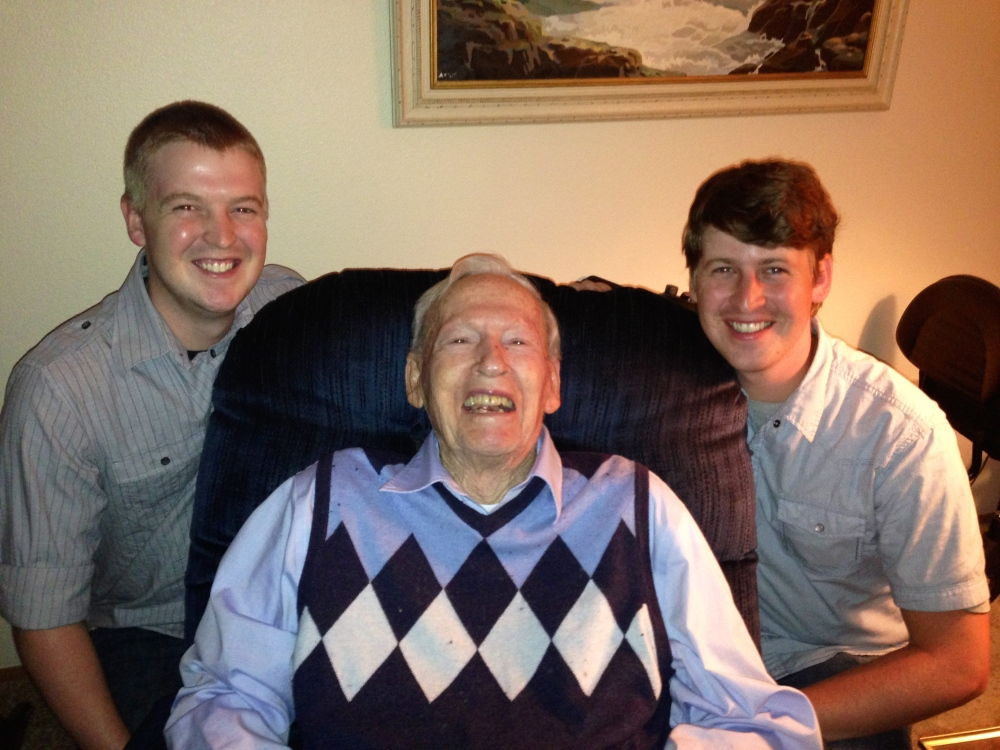 Three of the greatest guys I know: My brother in-law, WIll, grandpa Pomeroy and Of course my hubby :)  If you ever wonder where they get such warm genuine smiles it is from this wonderful man right in the middle. :)