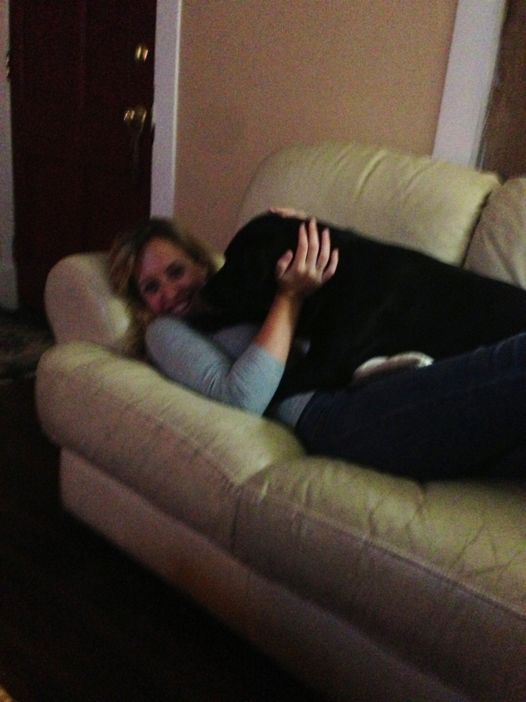 Me and me Kirby-girl cuddling on the couch while Paige and I had a movie night