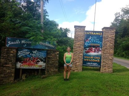 Me in front of the White Water Rafting companies sign!