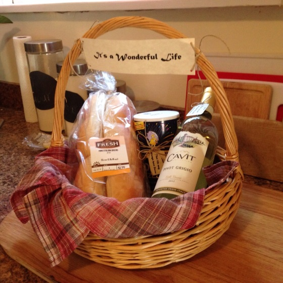 """The sweet and super thoughful house-warming gift from our Mompom. She put it together using my favorite movie in mind as a theme, It's a Wonderful Life. """"Bread that this house may never know hunger. Salt that life may always have flavor. And wine, that joy and prosperity may reign forever."""""""