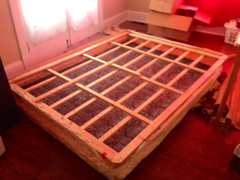 The box spring after the dust cover has been removed