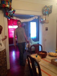 Matt walking into his surprise birthday cookout, after coming home from the farm, for his 25th birthday!