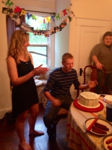 And my sweet husband thoughtfully pretending to blow out the candles after we were finished singing happy birthday to him anyways. :)
