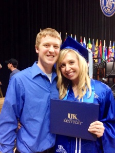 At Blair's graduation from UK in December 2013 as she walked across the stage and received her diploma as Mrs. Pomeroy!