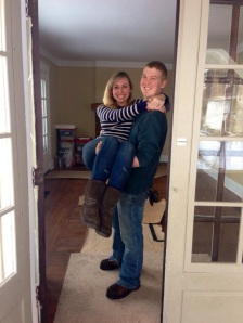 Mr. Pomeroy Carrying his beautiful bride across the threshold to their 3rd home together and their first big move from Lexington, KY to Covington, KY.