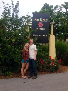 In front of the Four Roses sign. We got a picture in front of each sign at each distillery, as well as bottle of Bourbon, that we plan on putting on a shelf in our Kentucky room and framing each of the pictures that will be placed next to the bottles.