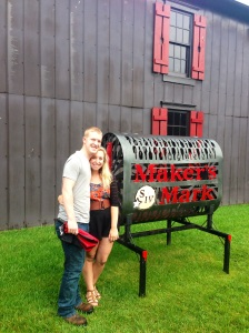 With the sign at Makers Mark!