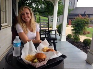 Eating lunch on the porch at Jim Beam! They had some delicious BBQ!