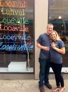 In Front of the Louisville Visitor Center after earning our t-shirts!