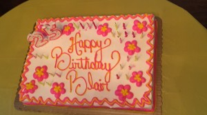 The beautiful birthday cake my hubby picked out for me complete with my favorite things, the colors pink, yellow and flowers!
