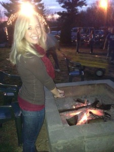 Getting our hands nice and toasty by the firepit!