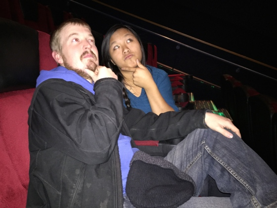 Hanging out in the theater before the movie started! We got there early so we would have good seats!