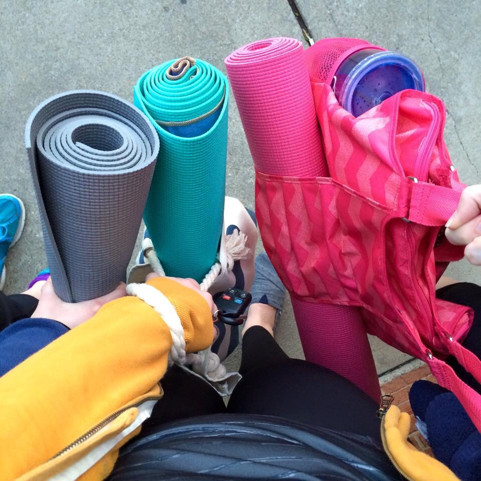 We joined the mat club! Can you tell which one is mine? I'll give you a hint, my favorite color is pink! lol
