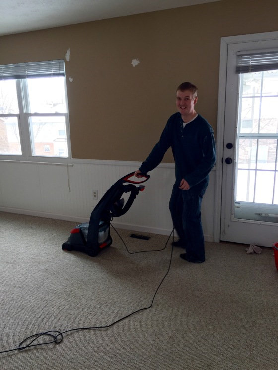 Matt shampooing all of our carpet!