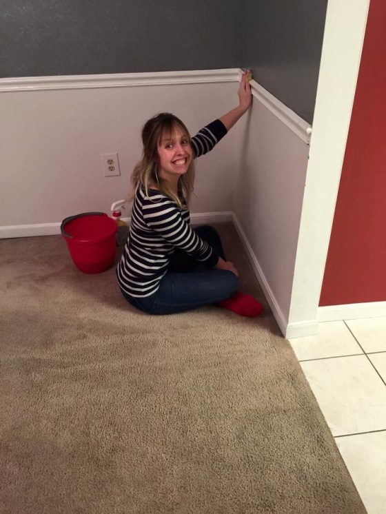 Blair getting the walls nice and clean!