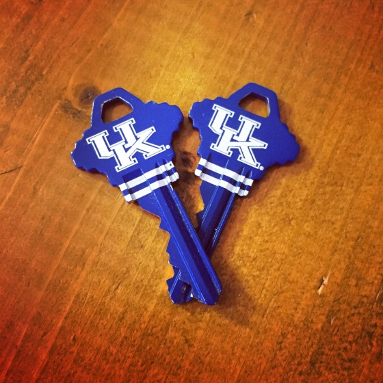 Our matching UK keys!! Of course you know we had to represent BBN in our Old Kentucky Home!