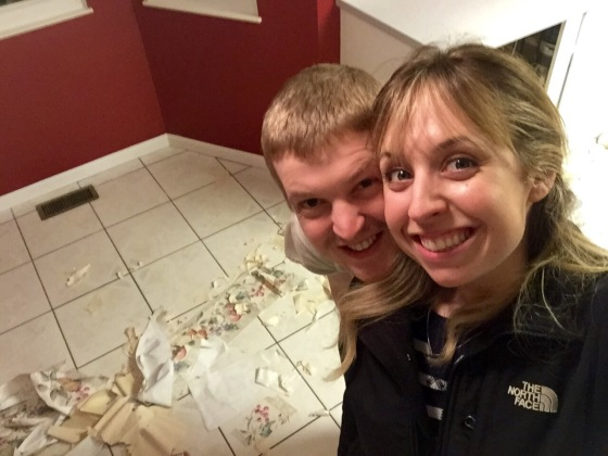 End of the night picture at 1:00 am after all the wallpaper was stripped in the kitchen!