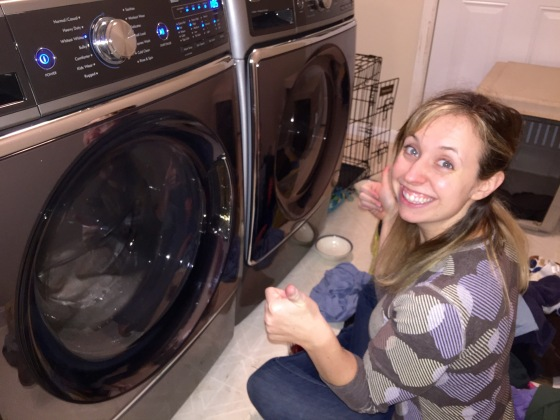 Doing our first load with our first washer and dryer!! It's so quiet we literally sat there and watched it the entire time to see if it was working because it doesn't make a sound!! Going through that time though where we lived without a washer and dryer made us super grateful for something that we otherwise took for granted, being able to do our laundry in our own home, quietly at that! lol