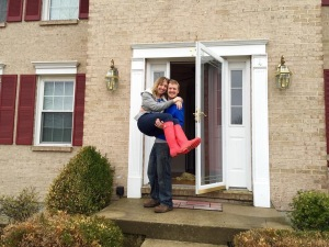 Being carried over the threshold for the last time. We've been filling that house with love and turning it into a home every day since.