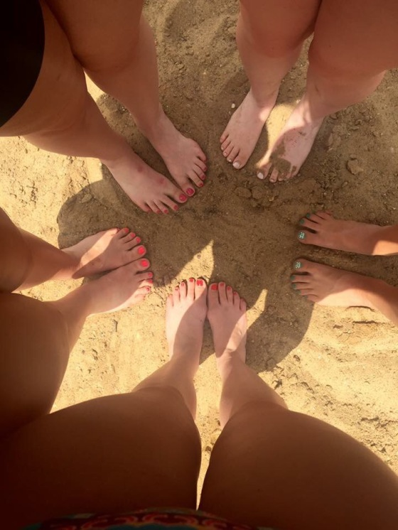 Of course we had to get a picture of our toes! Call us typical white girls! lol