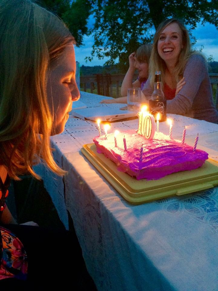 Blowing out the candles on her birthday cake and making a wish!
