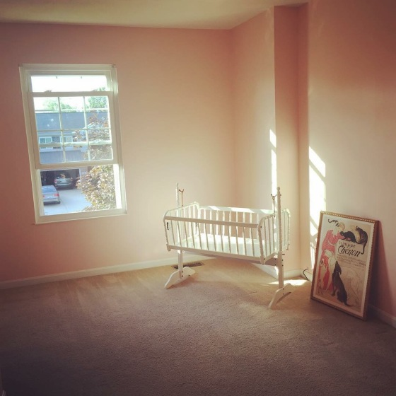 The nursery painted the perfect shade of peachy-pink fit for our Princess P!