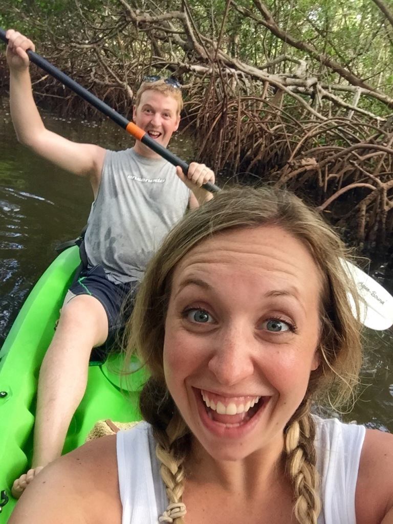 On our Kayaking tour through The Florida Mangroves! First time we had both ever been Kayaking or been to the ManGroves! It was such a fun experience! So glad we woke up one morning decided over breakfast to spontaneously do this that day!