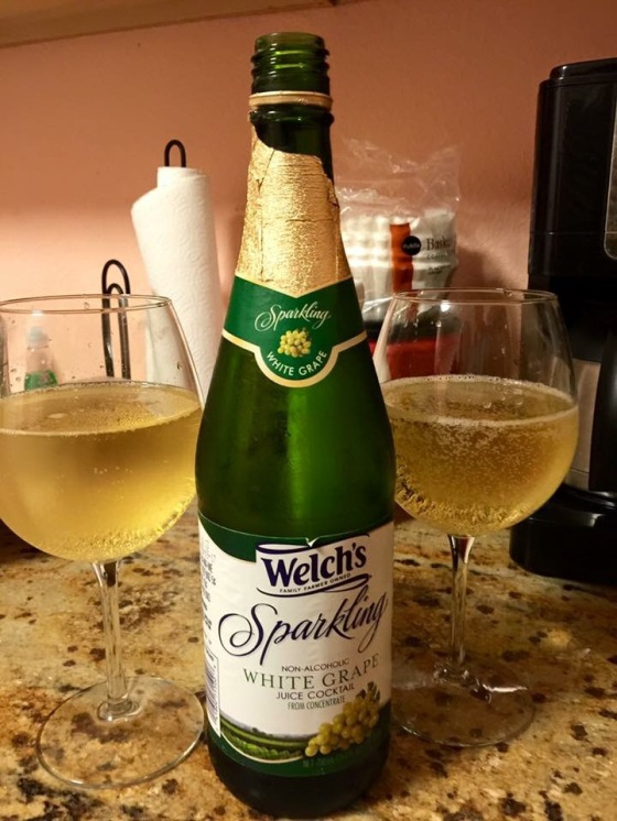 Who needs champagne when you can celebrate with sparkling grape juice lol Seriously though, we usually toast with a bottle of the same champagne that we drank at our wedding but this year opted for something more baby and pregnancy friendly lol