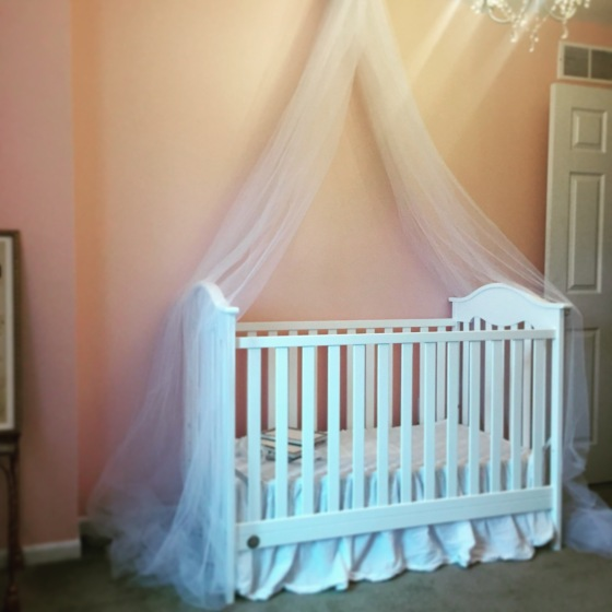 Our little Princess P's crib canopy that we were able to make for under $20 thanks to her daddy's handy man skills :)