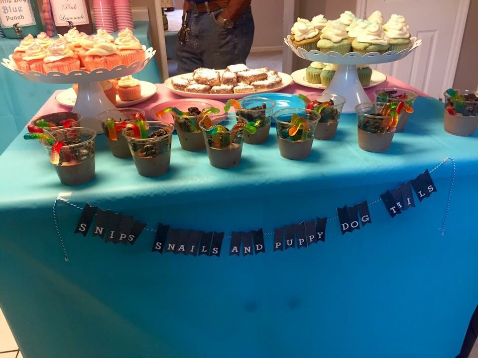Snips, Snails and Puppy Dog tails - side of the dessert table