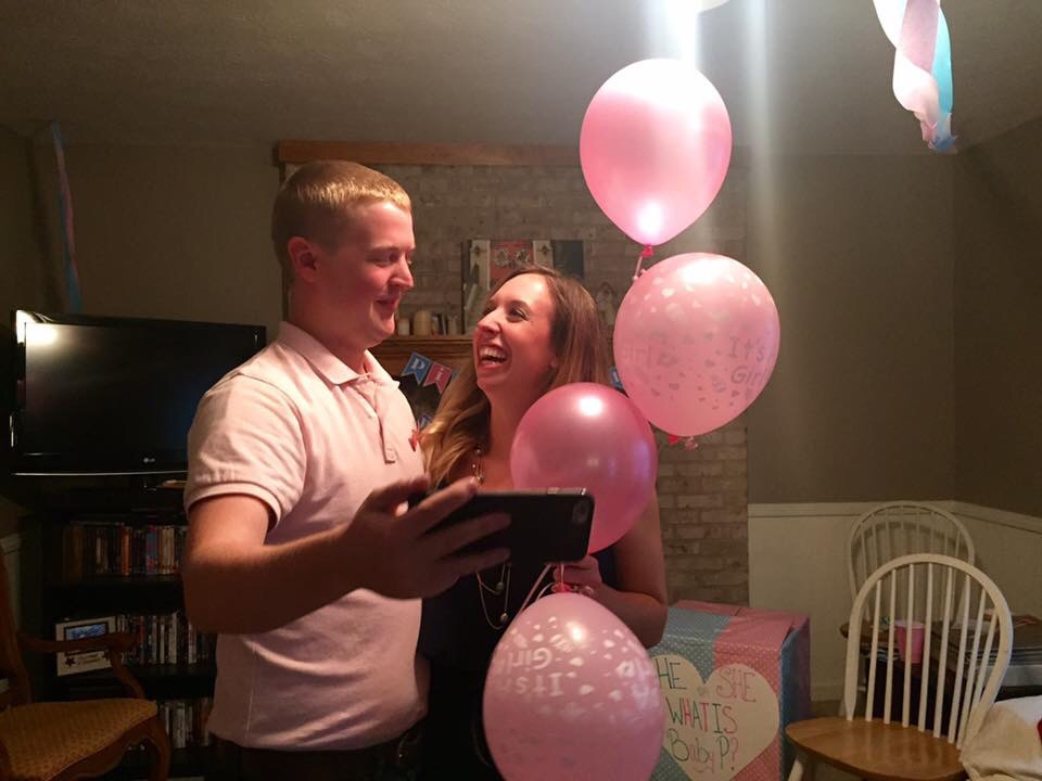 Talking to some family on Facetime about how excited we were to be having a daughter!!! <3