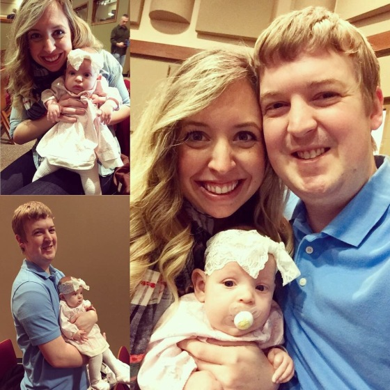 Annabelle also went to her first Sunday church service on the outside of her mommas belly! On a side note - The first time I ever felt her move in my belly was on Sunday, July 5, 2015 during that mornings church service when we were 16 weeks pregnant with her. She loved the service just as much as she did, if not more, than when I was pregnant with her. lol