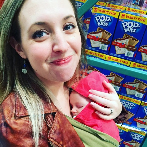 Out at Costco for the first time! Annabelle had a blast until she fell asleep next to the giant boxes of poptarts lol