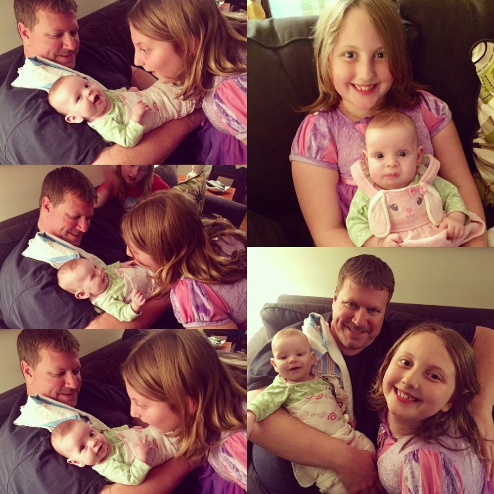 Hanging out with her Uncle John and cool cousins Mary and Evie :)