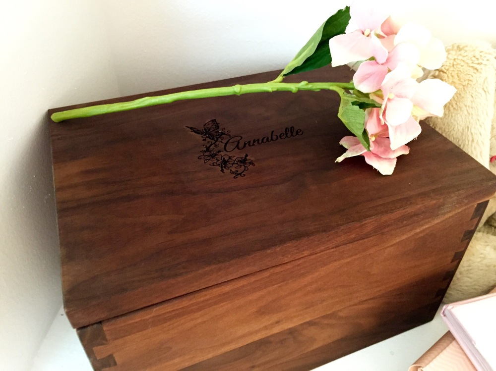 A very special box designed and personalized just for Annabelle by some of the most wonderful friends around! It is filled with all of her keepsakes from her life thus far <3