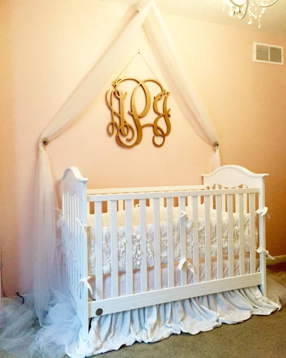 Her crib now that we have lowered her matteress I love how billowy her crib skirt is, like her bed is floating on a cloud of cotton