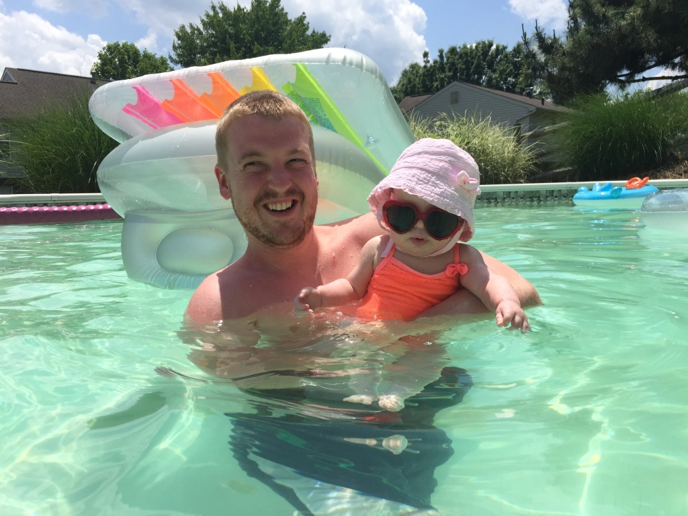 Annabelle going swimming with her daddy for the first time in our pool!