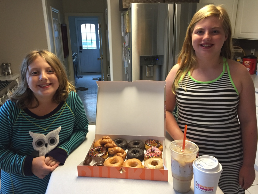 Aunt Blair woke Evie and Mary up for a special early morning donut run before church!