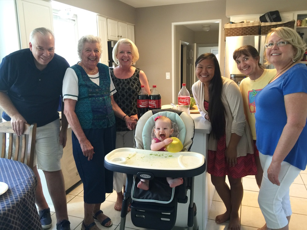 The family that was there to share in our joy over Annabelles first food tasting!