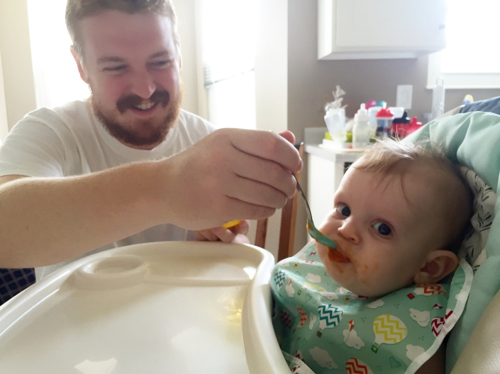 Eating some Pumpkin with Daddy!