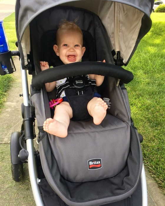An evening walk for her first time facing out in her stroller! She loved it!