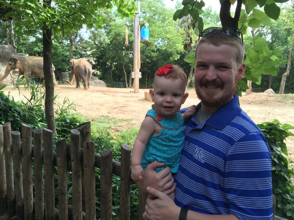 We got a picture with the Daddy and baby Elephants!