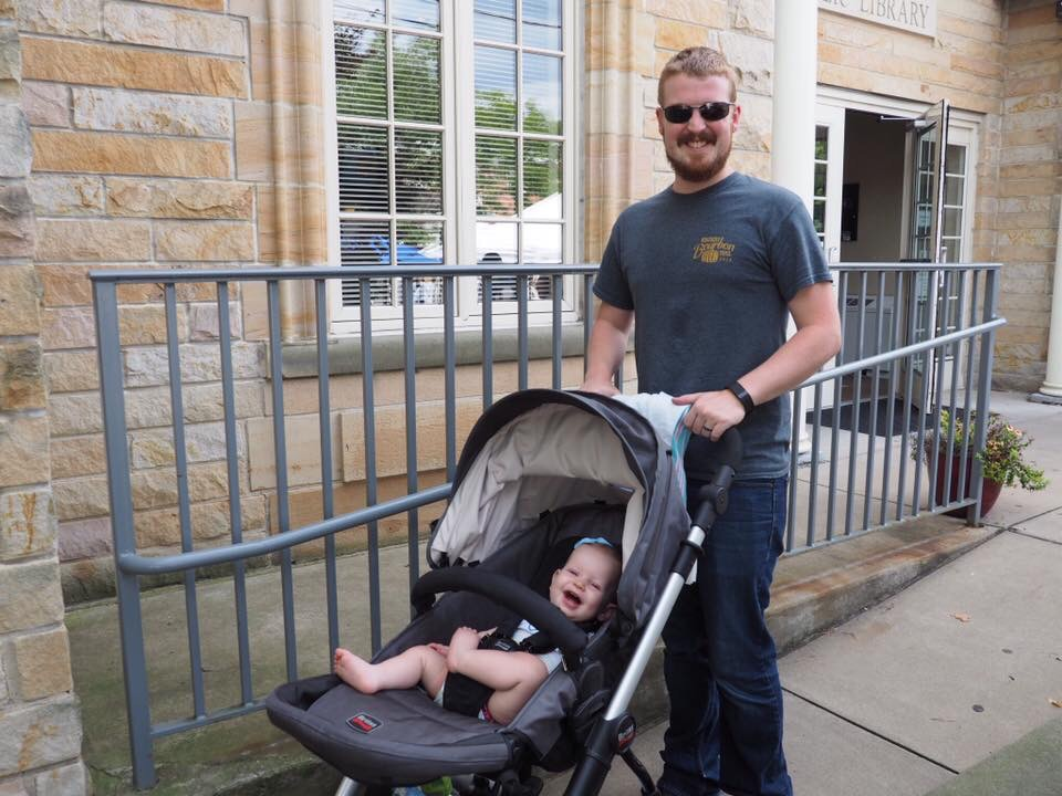 Strolling with Dad around town!