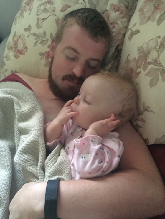 Morning snuggles with Dad!