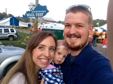 At Woolfest together for the first time as a family of three!