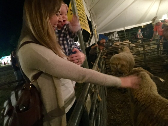Waving hello to the sheep at Woolfest!