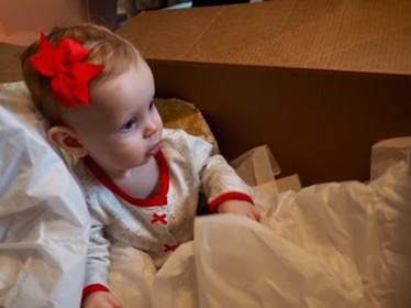 THE big box, one of Annabelles most favorite gifts this year. Topped only by bows, and Banana puffs lol